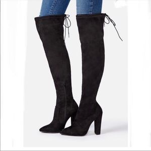 JustFab Cara Black Over the Knee Boots